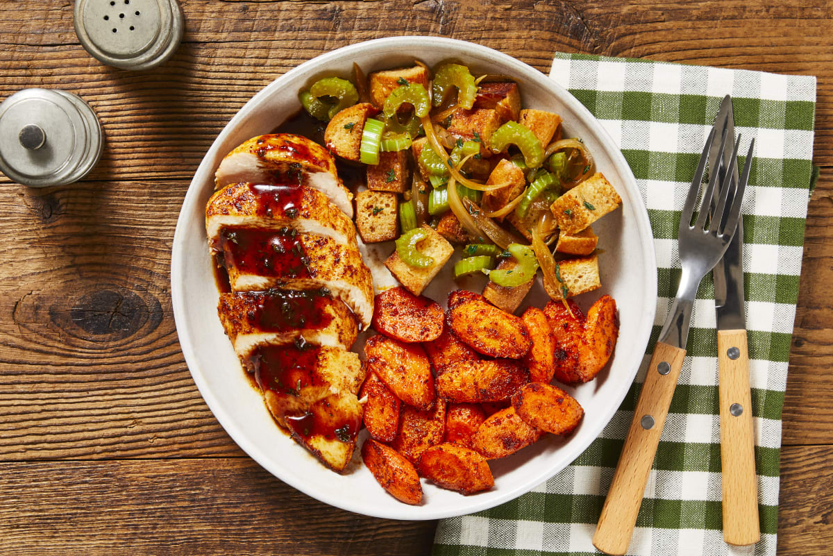 Cranberry Chicken & Herby Pan Stuffing