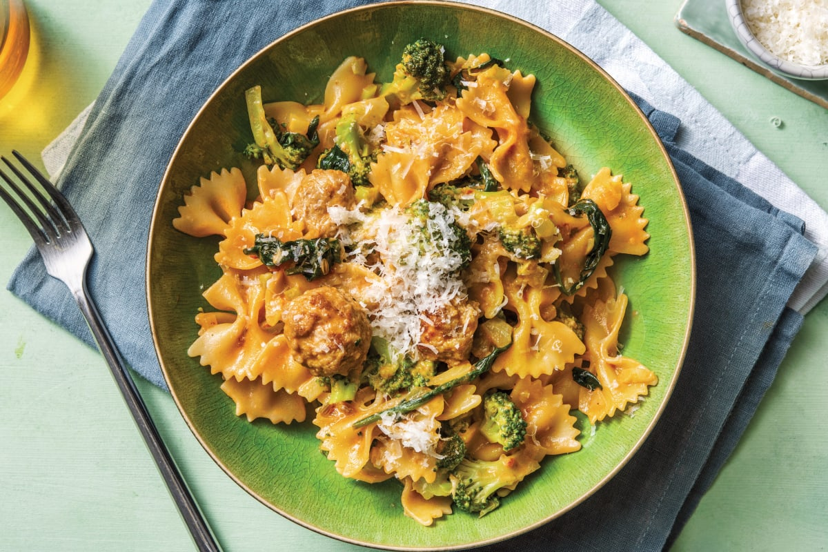 Creamy Italian Pork Sausage & Broccoli Farfalle