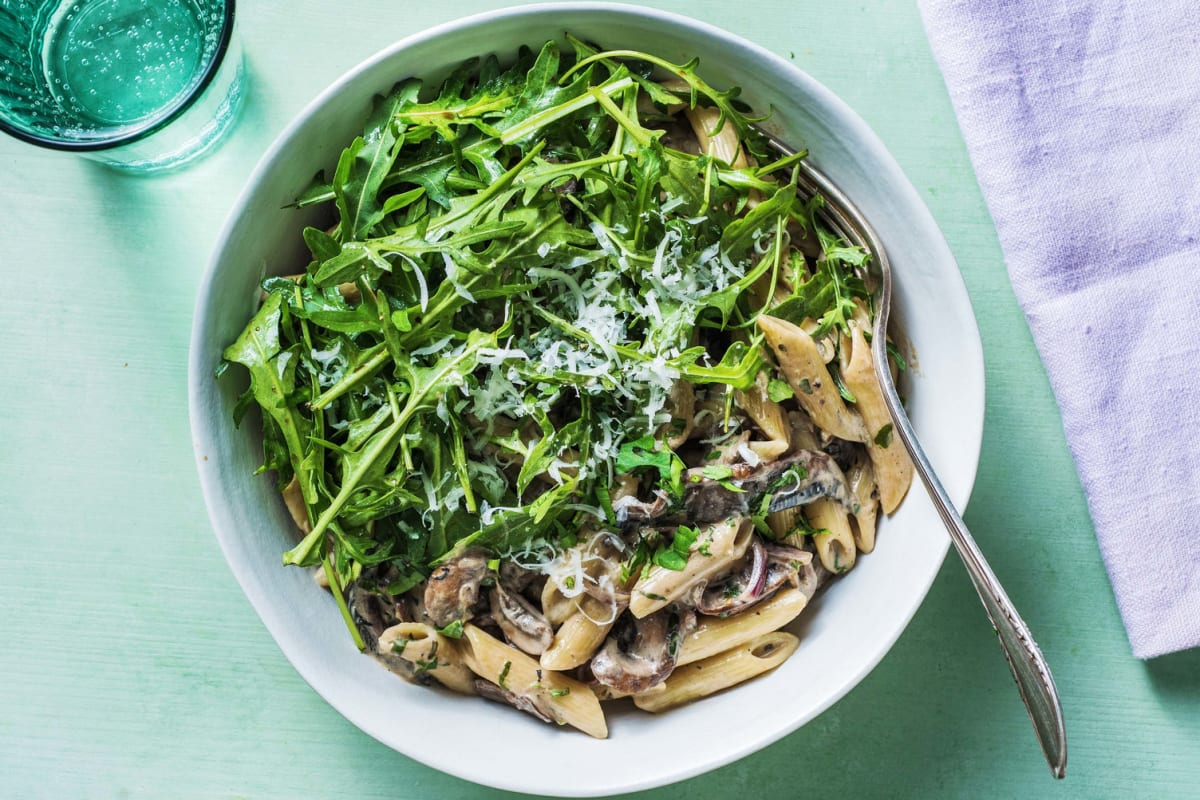 Creamy Mushroom Pasta With Rocket Recipe Hellofresh