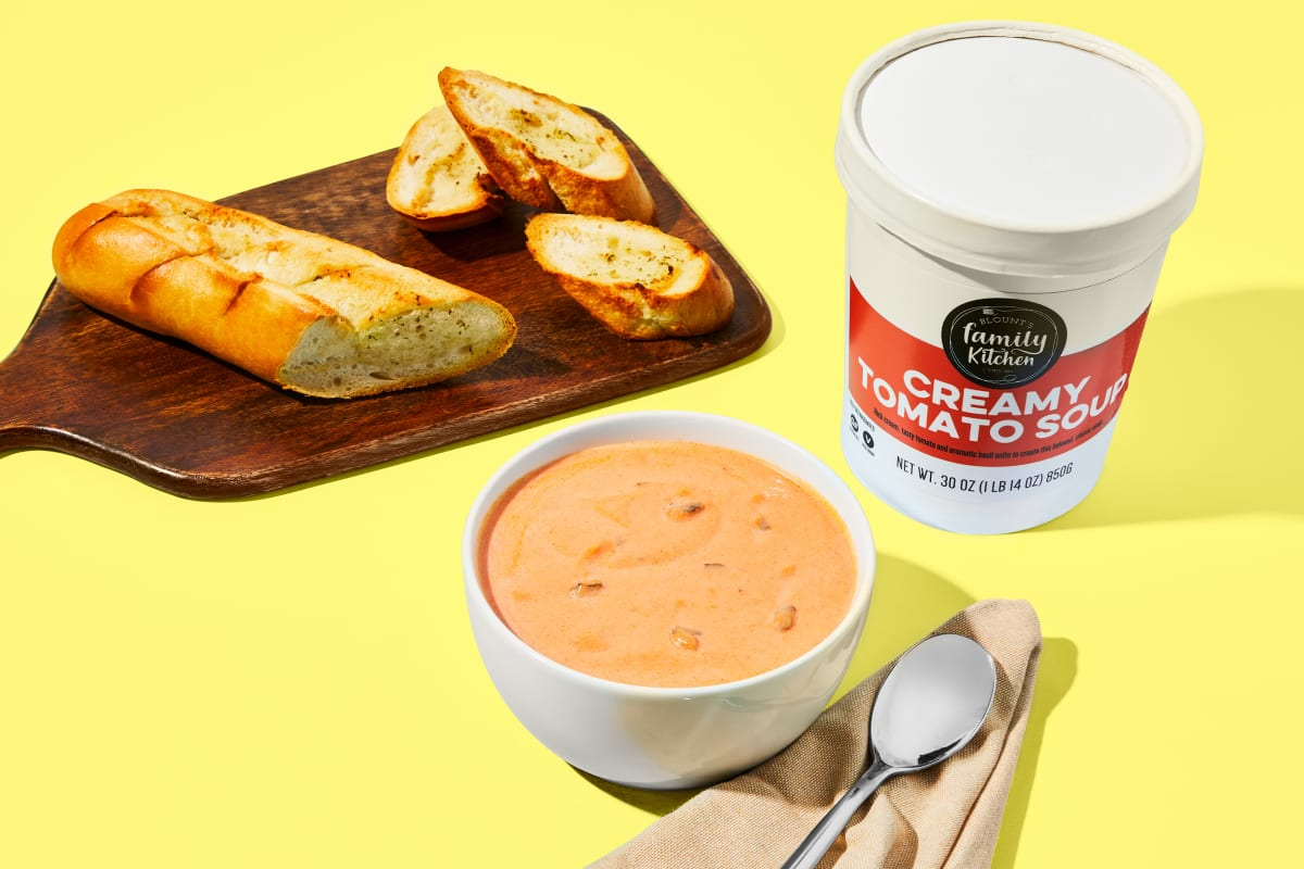 Creamy Tomato Soup & Garlic Bread