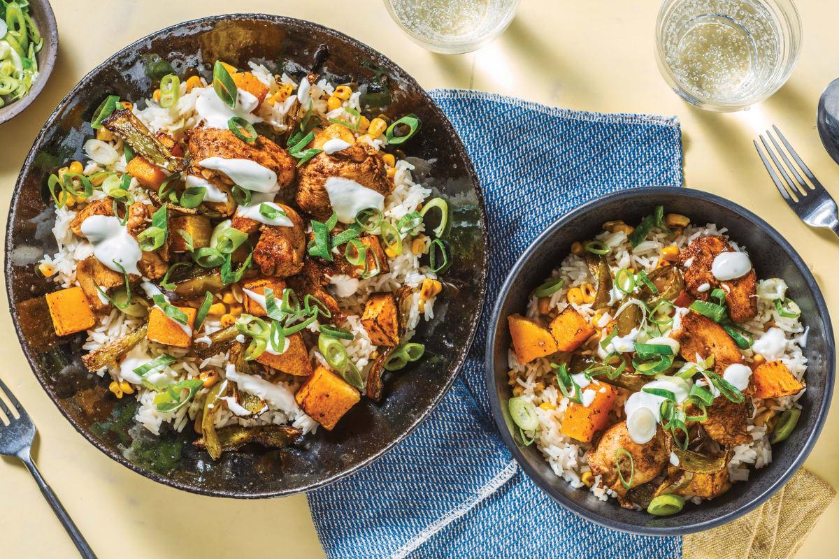 Creole Chicken & Roast Veggie Rice Bowl