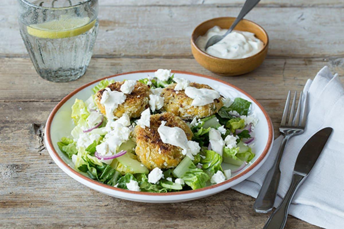 Crispy Chickpea Fritter Salad