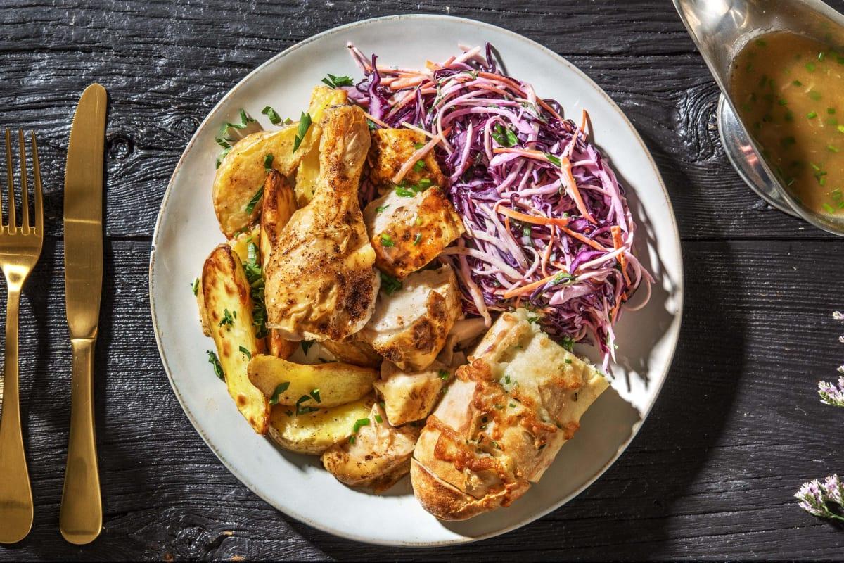 Crispy Skinned Chicken Dinner