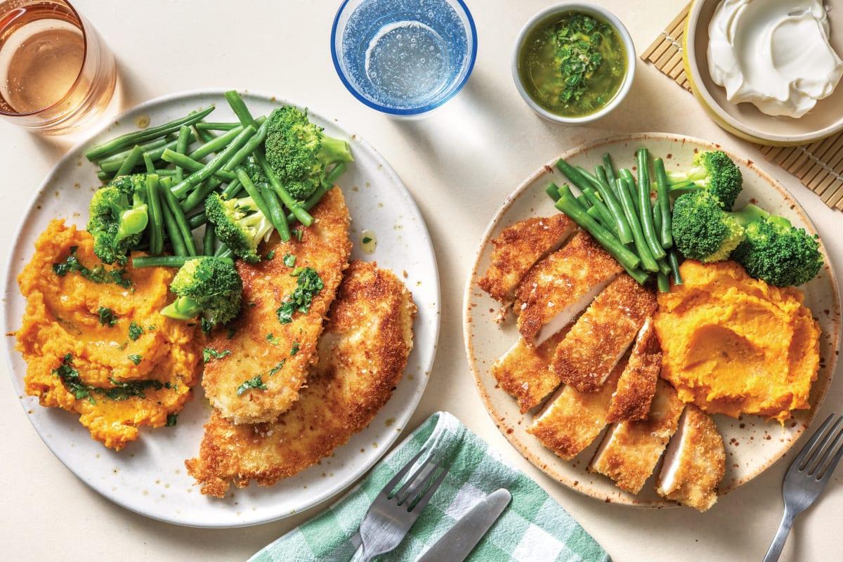 Crumbed Chicken Sweet Potato Mash Recipe Hellofresh