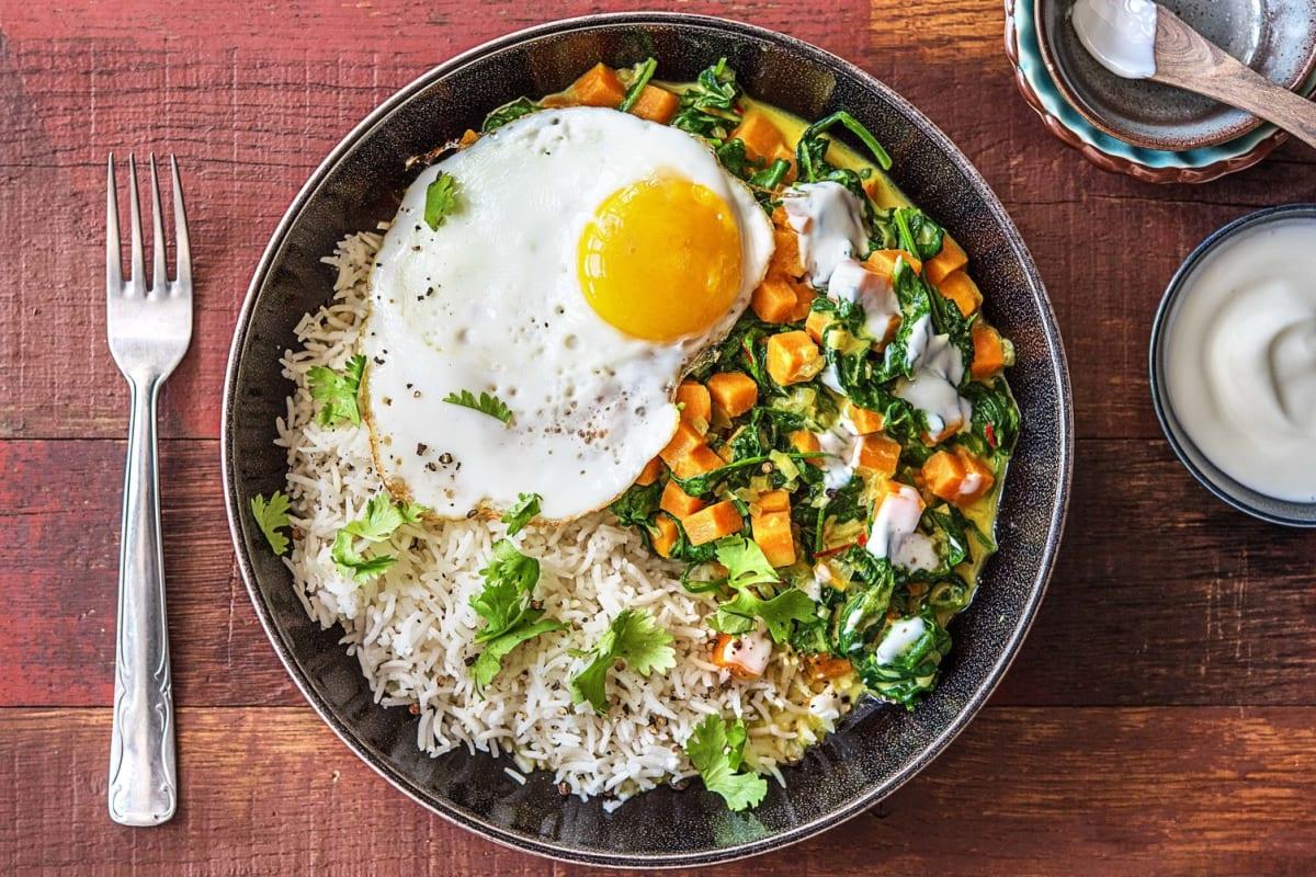 Curry met spinazie en zoete aardappel