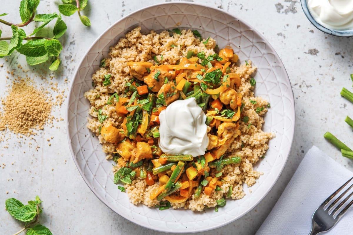 Curry rouge au poulet & semoule complète
