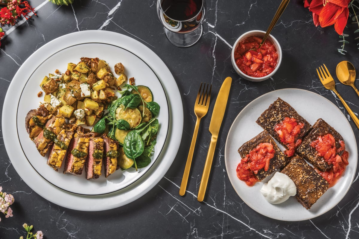 Dijon & Herb Crusted Lamb with Dill-Fetta Potatoes & Sautéed Zucchini Salad