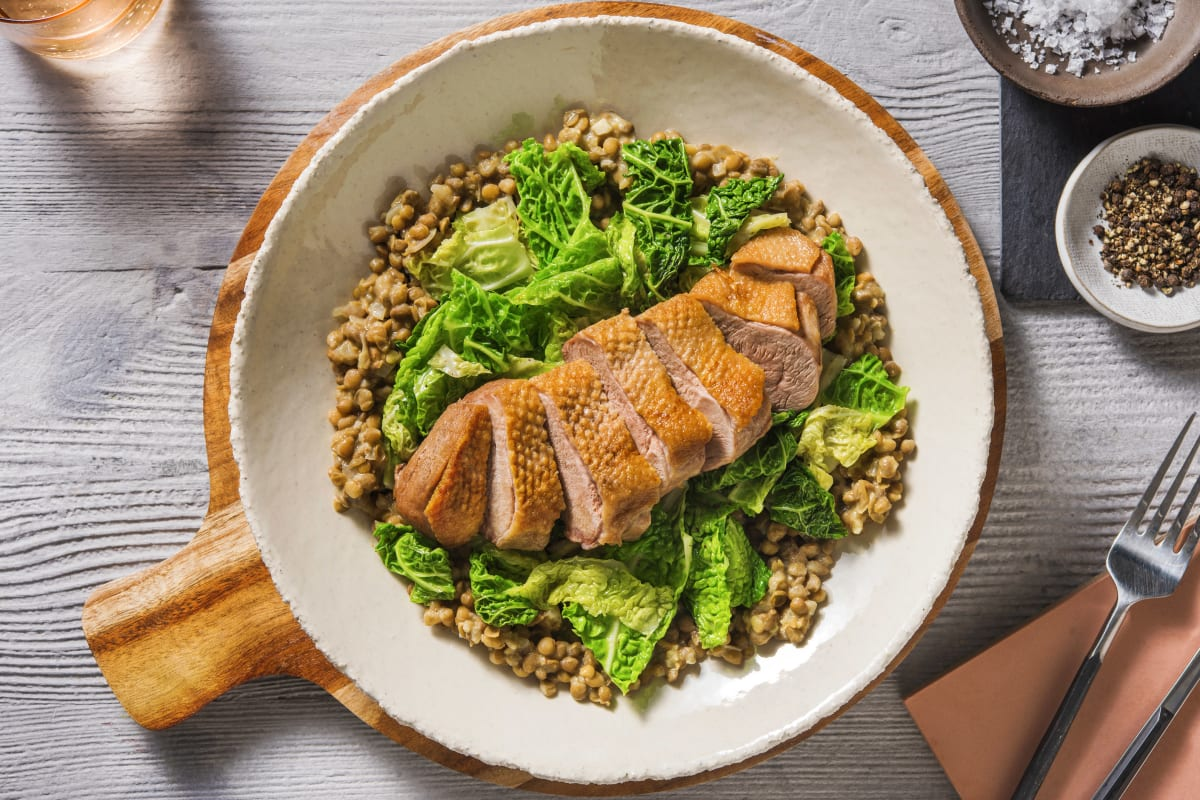 Duck Breast with Mustard Lentils