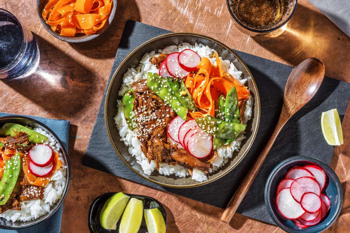 Duck Donburi Rice Bowl & Pickled Radishes,