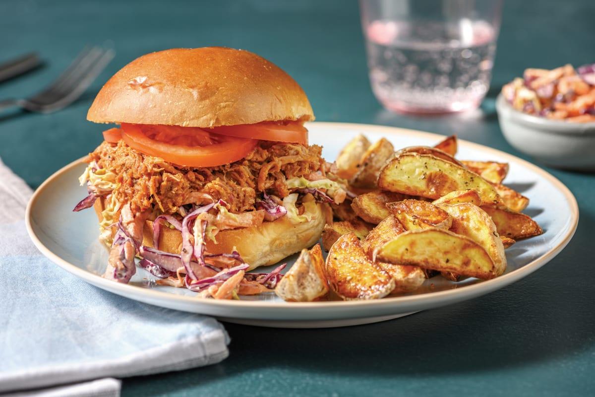 Easy BBQ Pulled Pork & Slaw Burger