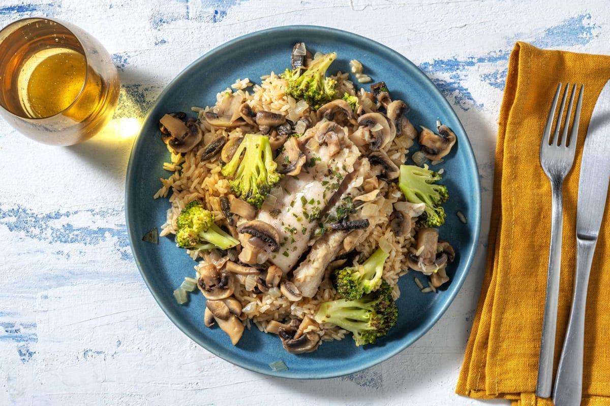 Schelvis in romige champignonmarinade