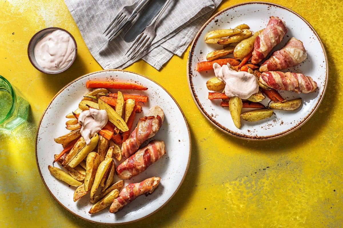 Einfache Bacon-Hähnchen-Sticks
