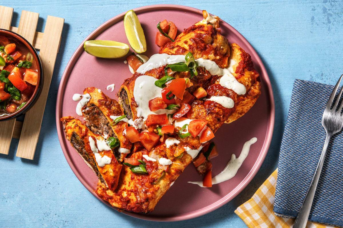 Enchiladas mit scharfer Tomatensoße