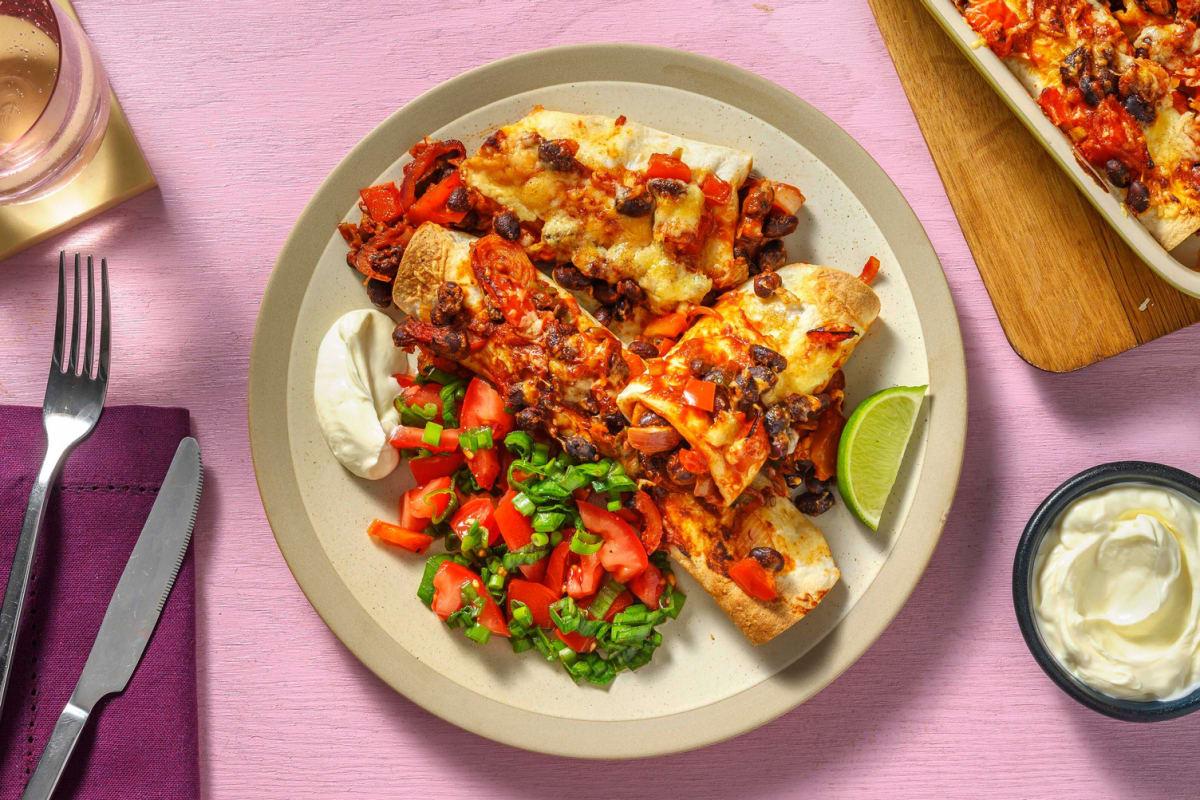 Vegetarische enchilada's met cheddar en zure room