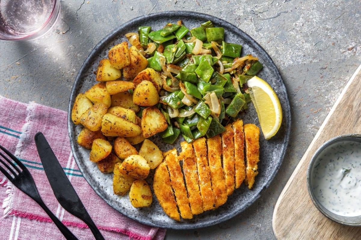 Vegetarische schnitzel met gebakken aardappeltjes