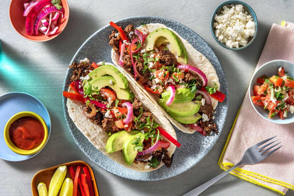 Fajitas met rundergehakt, avocado en tomatensalsa