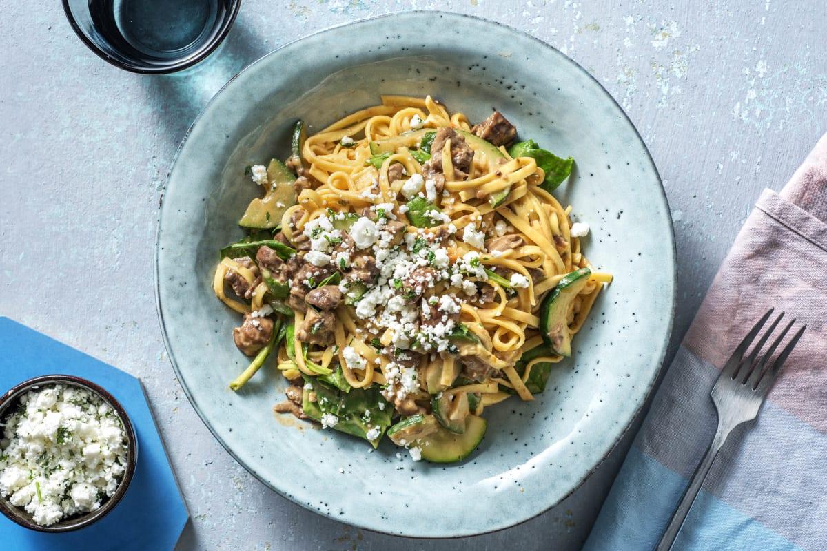 Spaghetti mit Tomatenrahm und Spinat
