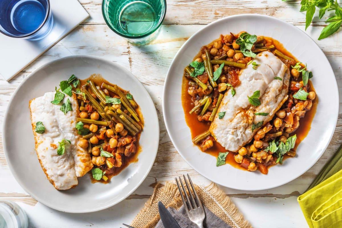 Filet de merlu & pois chiches à la provençale