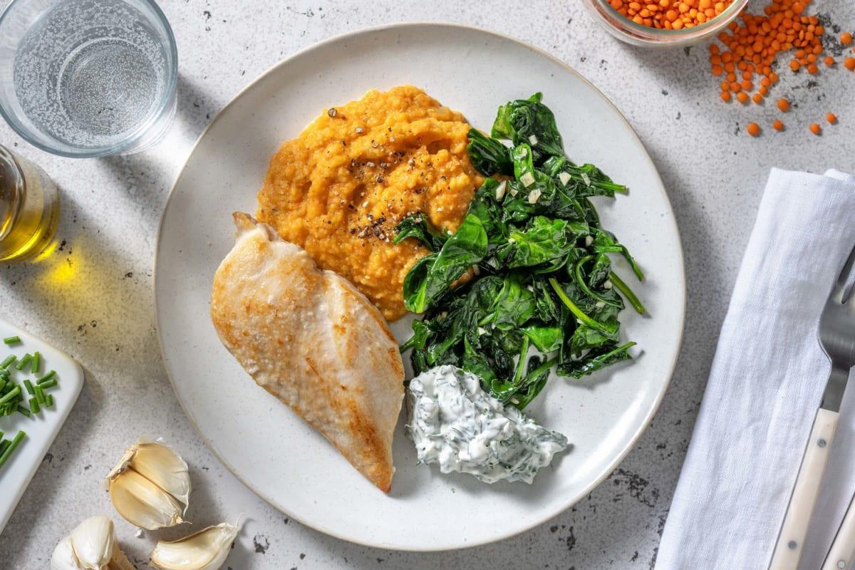 Filet de poulet & purée de carotte