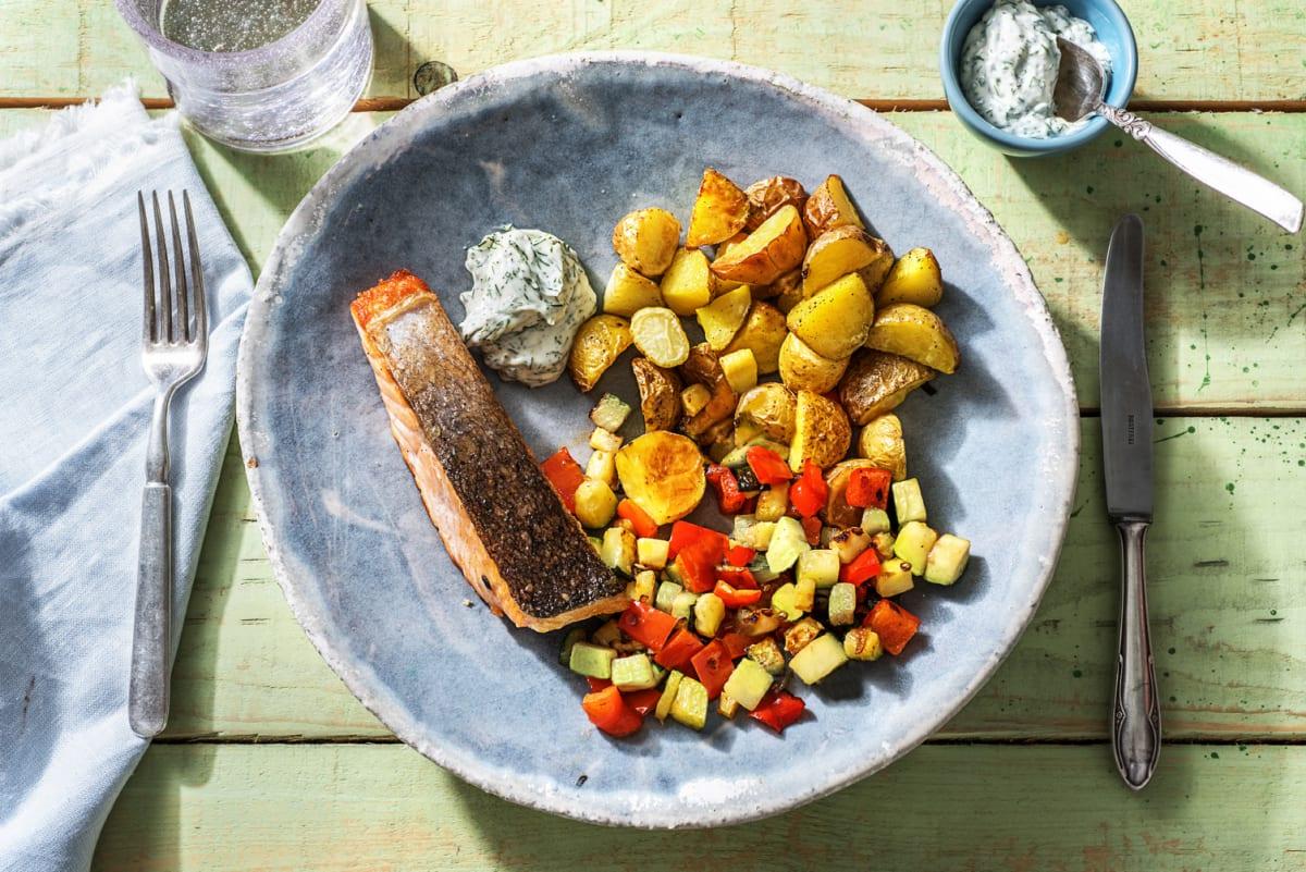 Filet de saumon poêlé & mayonnaise à l'aneth