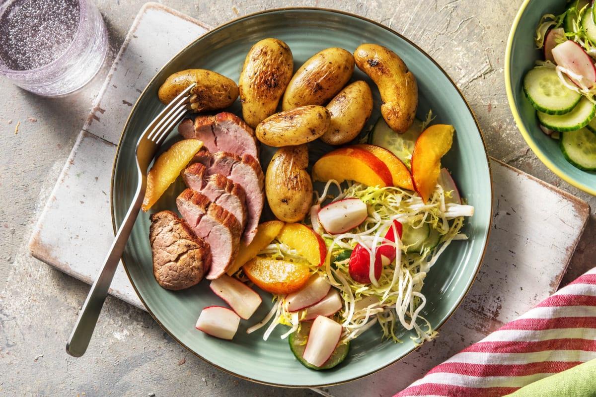 Filet mignon & grenailles poêlées en salade d'été