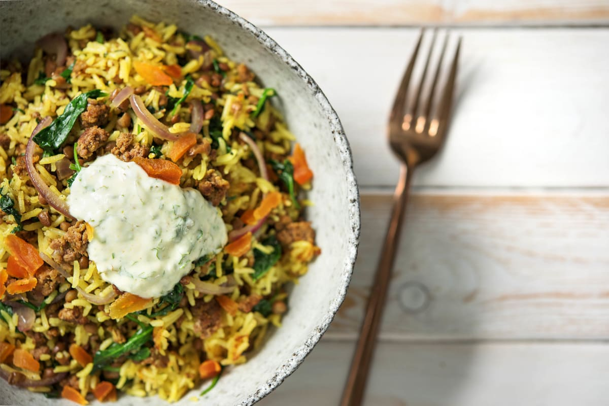 Fragrant Lamb Pilaf with Spinach,
