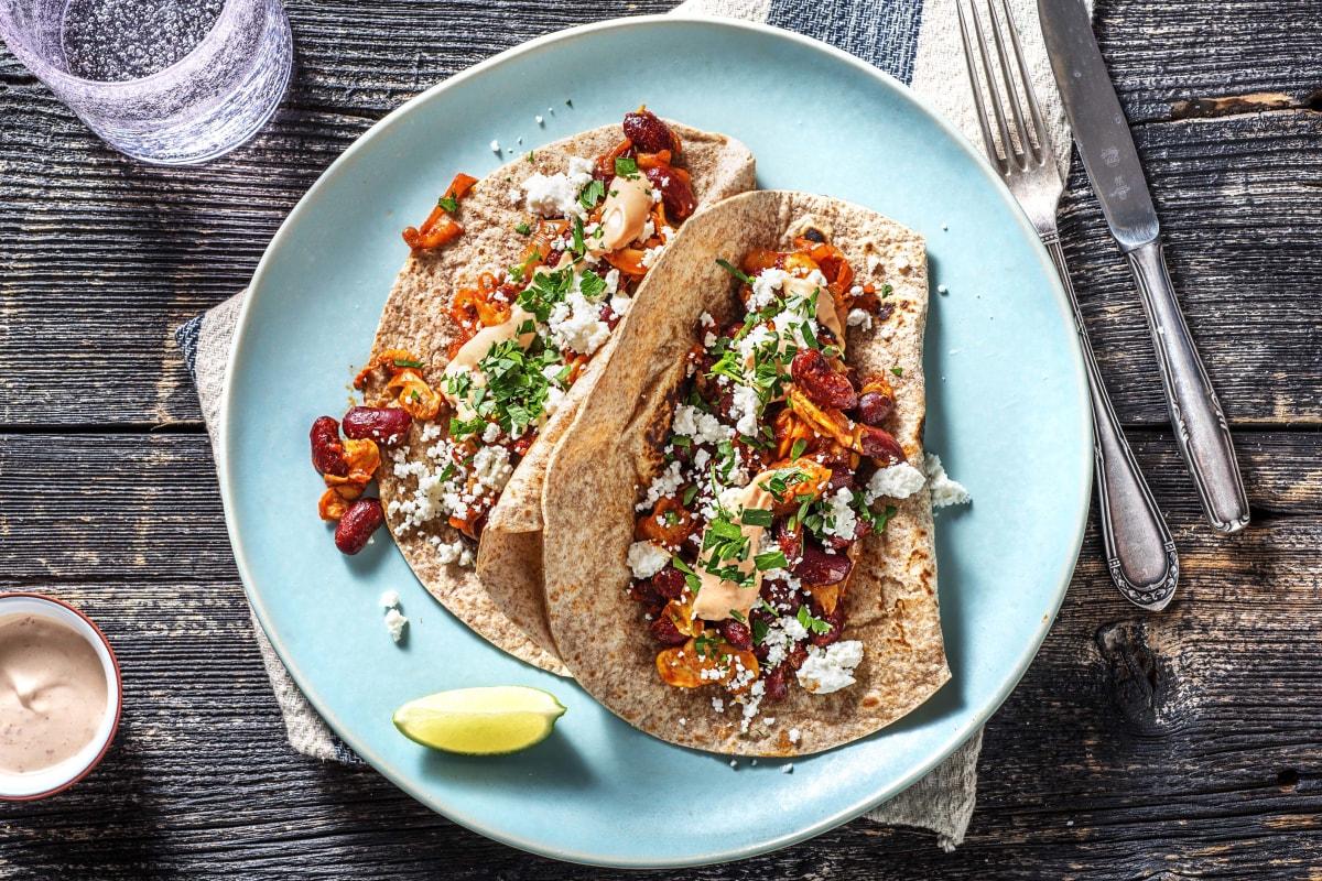 Fried Bean & Mushroom Tacos