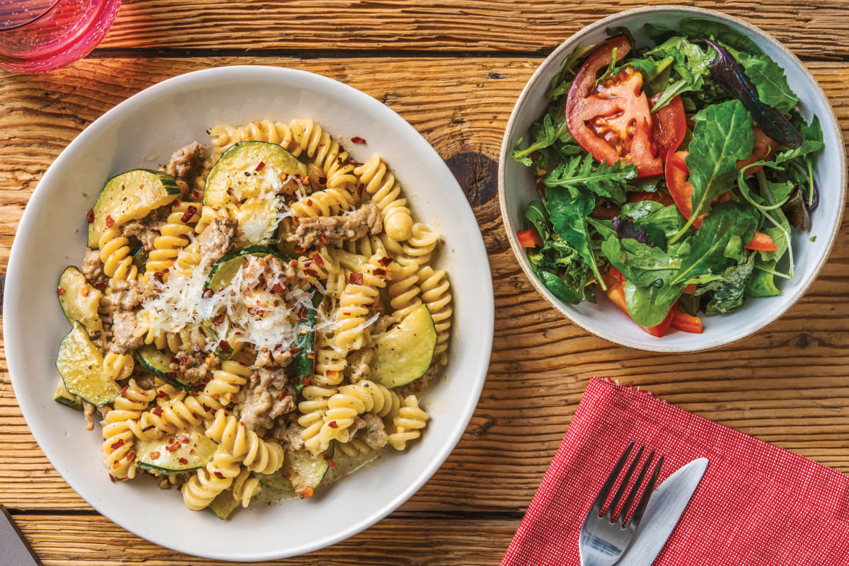 Creamy Basil Pesto & Pork Fusilli