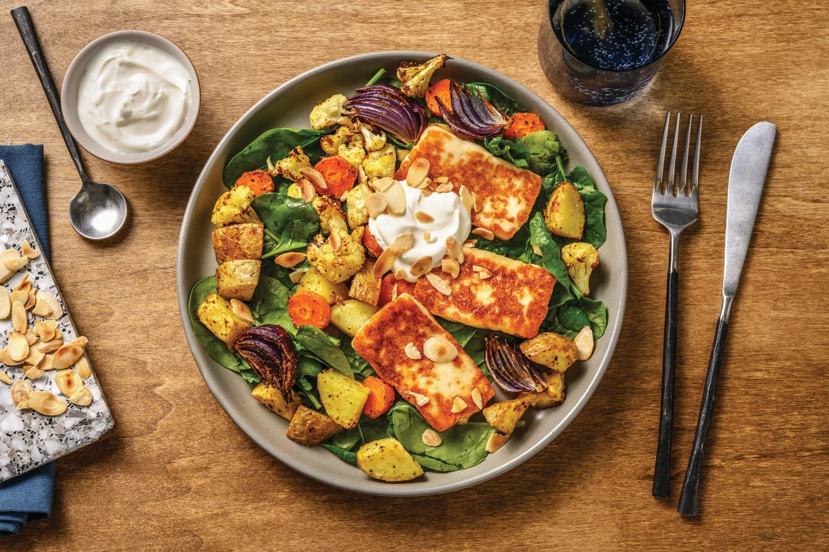 Honey-Glazed Haloumi & Roast Veggie Salad