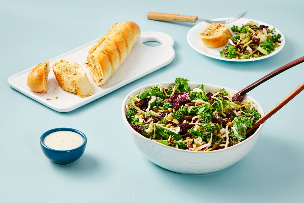 Garlic Bread & Sweet Kale Salad
