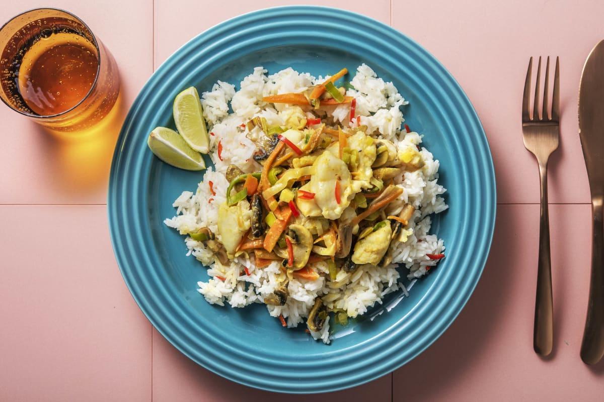 Gelbes Curry mit Fisch