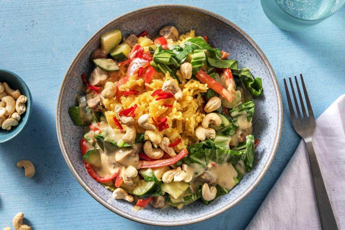 Vegane Gemüsepfanne mit Curryreis