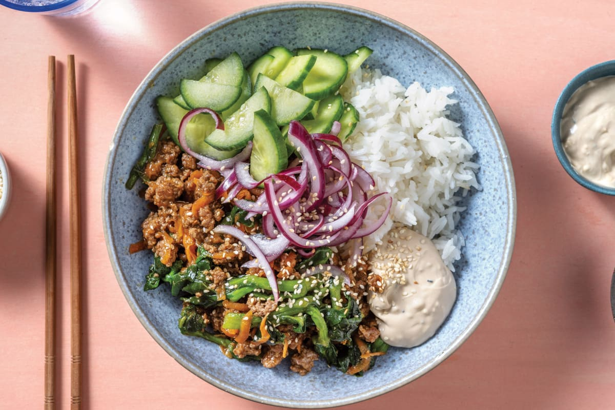 Ginger Beef Rice Bowl with Pickled Onion & Japanese Mayo