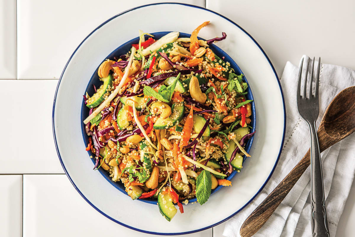 Crunchy Thai Quinoa Salad with Ginger Soy Dressing & Roast Cashews