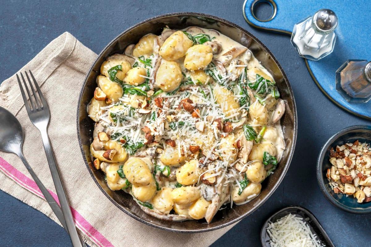 Gnocchi met champignons en spinazieroom