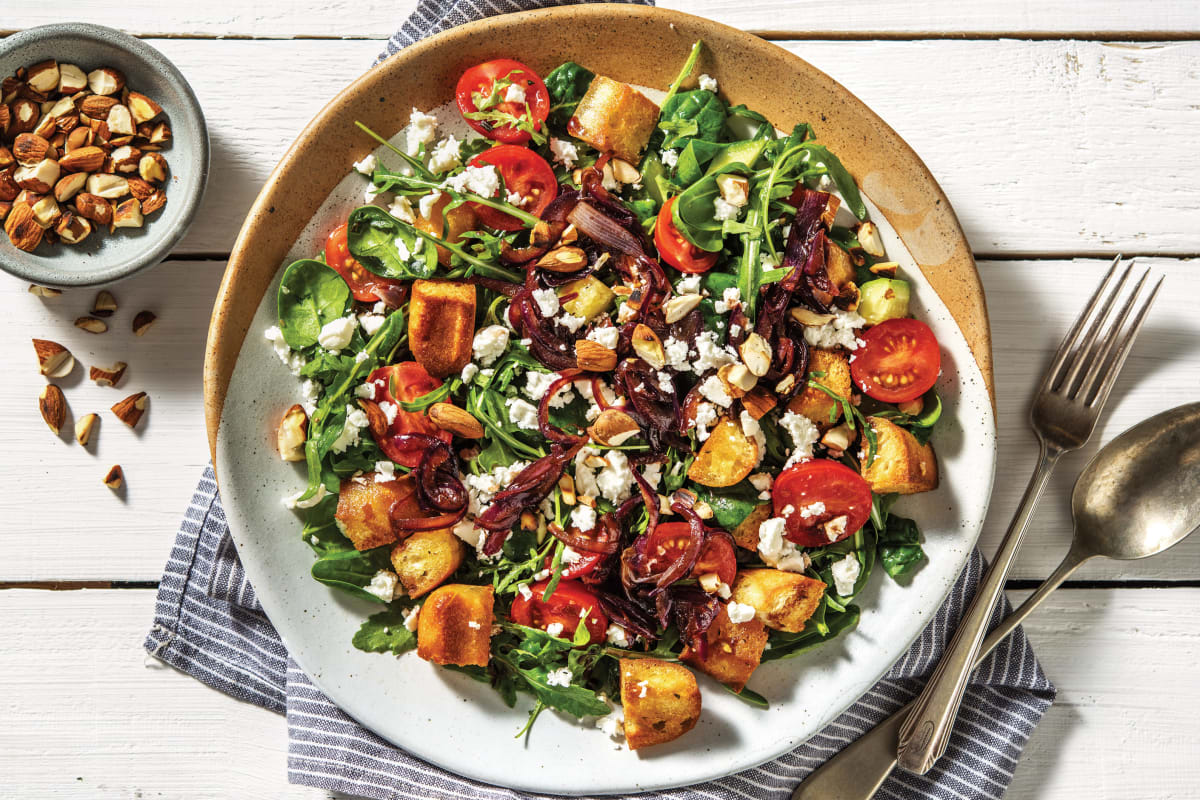 Goat Cheese & Cherry Tomato Panzanella Salad
