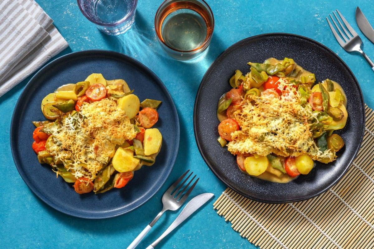 Romige ovenschotel met aardappelschijfjes en snijbonen