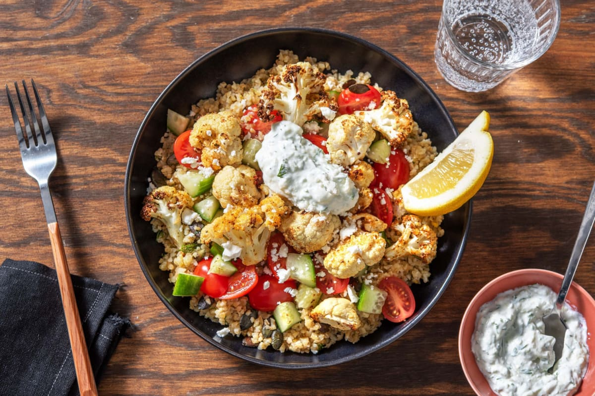 Greek Roasted Cauliflower and Bulgur Pilaf