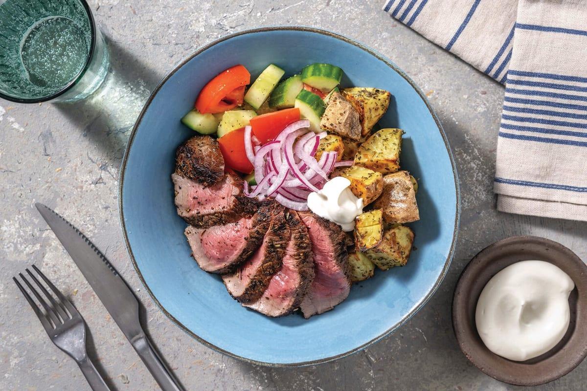 Greek Seared Steak Bowl