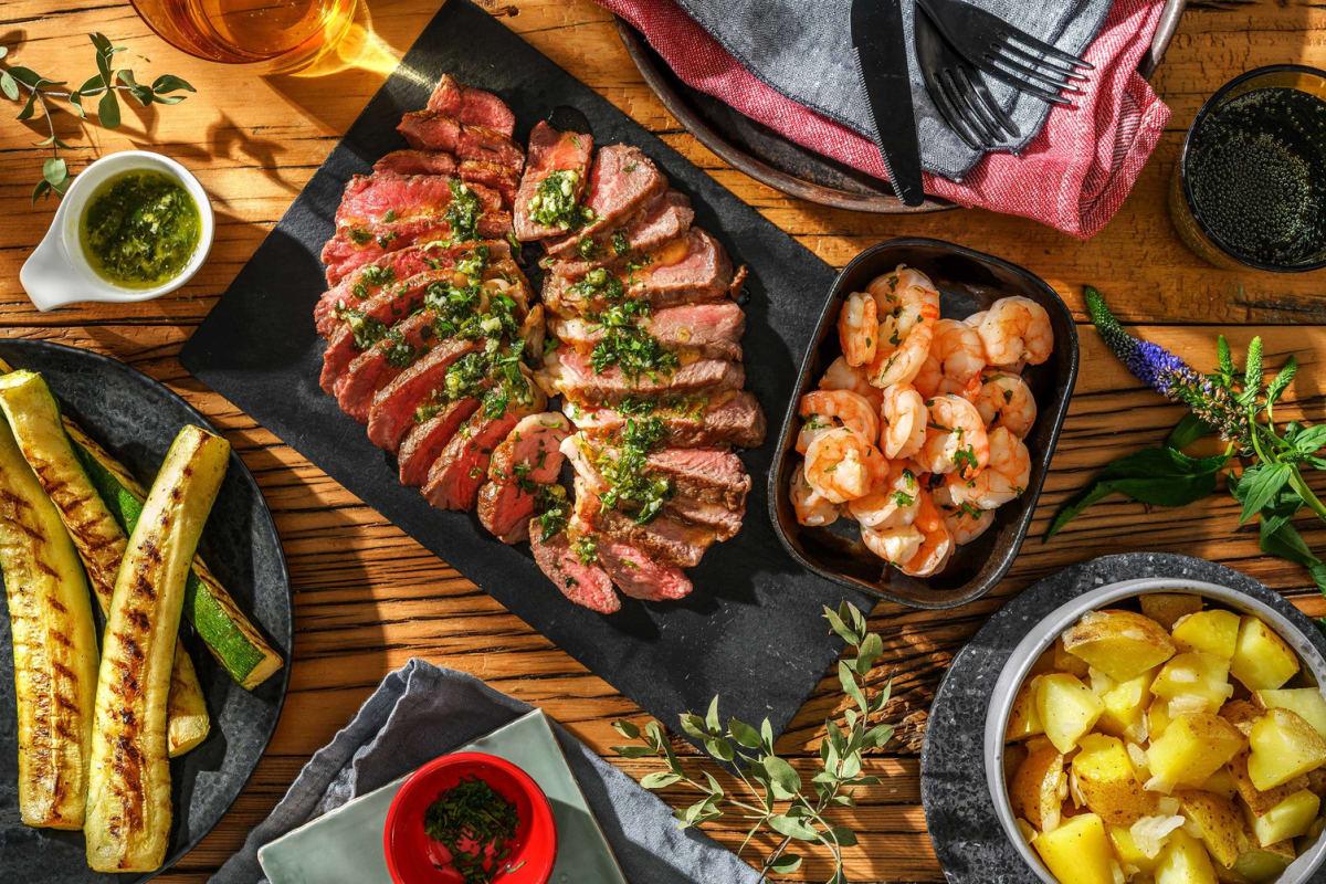 Grilled Surf and Steak Dinner