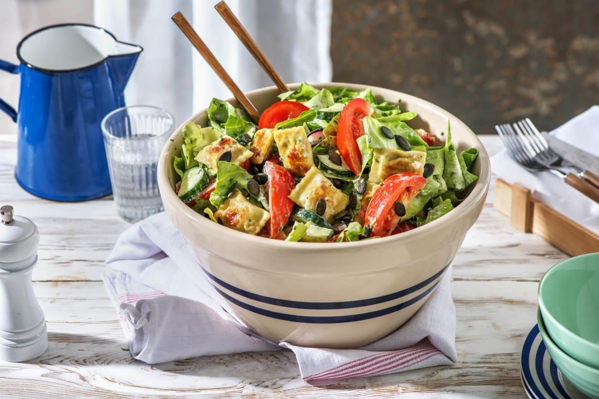 Grüner Salat mit Mini-Maultaschen