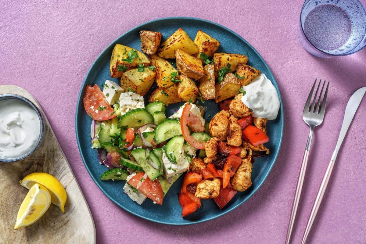 Hähnchen-Pfanne mit Souflaki-Kartoffeln