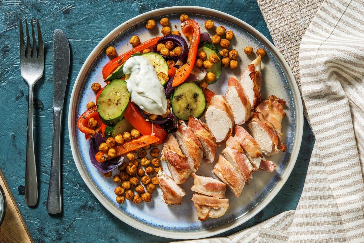 Hähnchen-Saltimbocca mit Ofengemüse