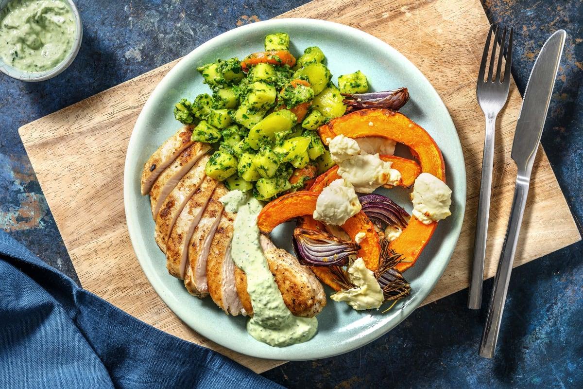 Hähnchenbrust mit Pesto-Gemüse und Kürbis