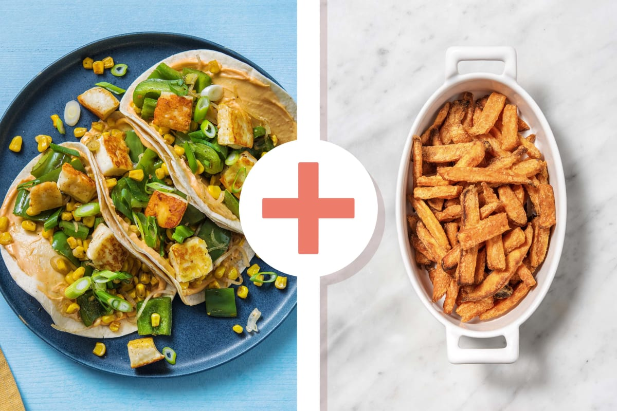Halloumi, Pepper and Sweetcorn Tacos With Sweet Potato Fries
