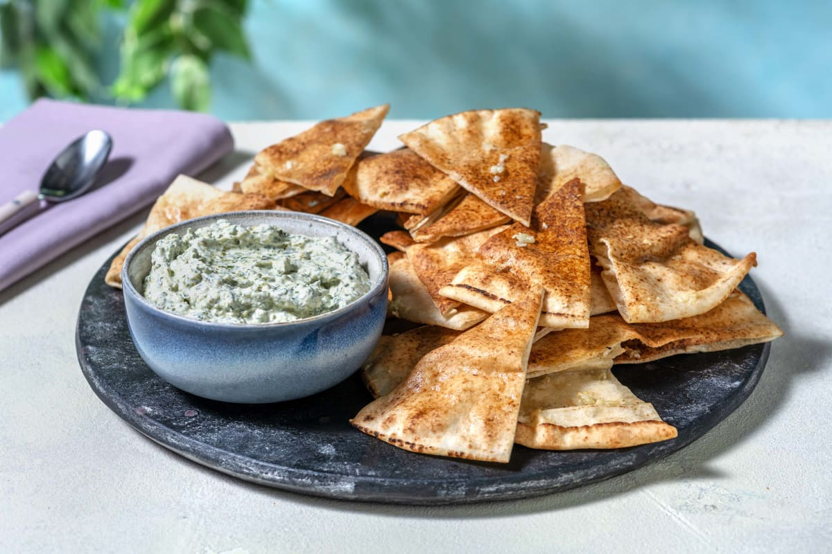 Herby Pistachio Dip with Garlic Flatbread Dippers