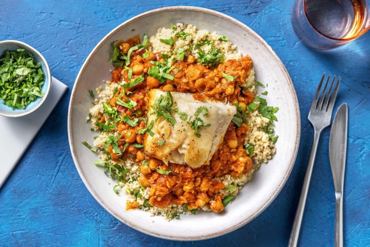Honey Glazed Cod & Harissa Chickpea Stew