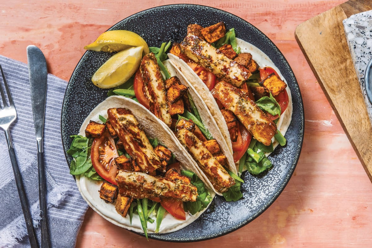 Honey & Oregano Glazed Haloumi Tacos