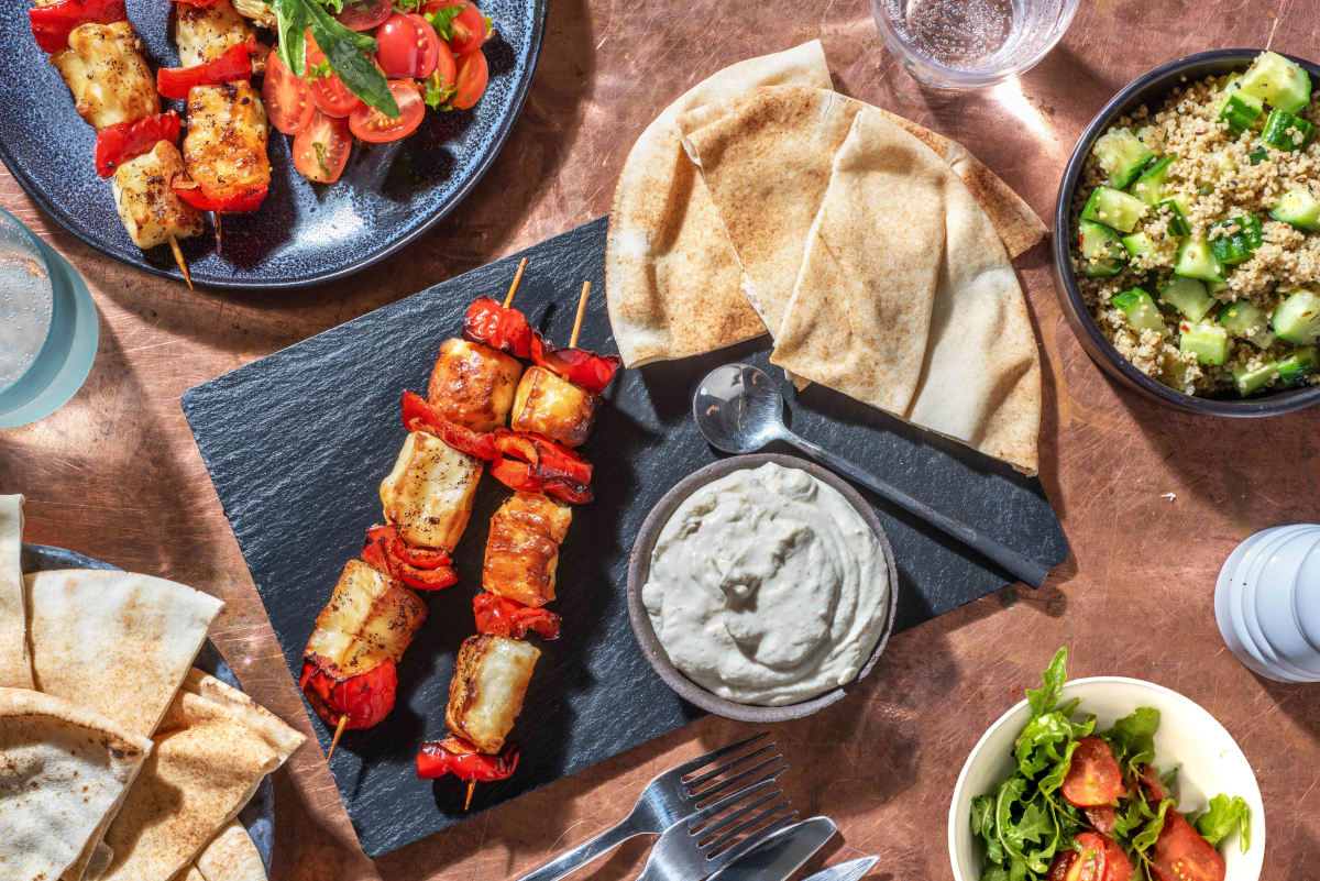 Honey Sumac Halloumi Skewers Mezze Platter
