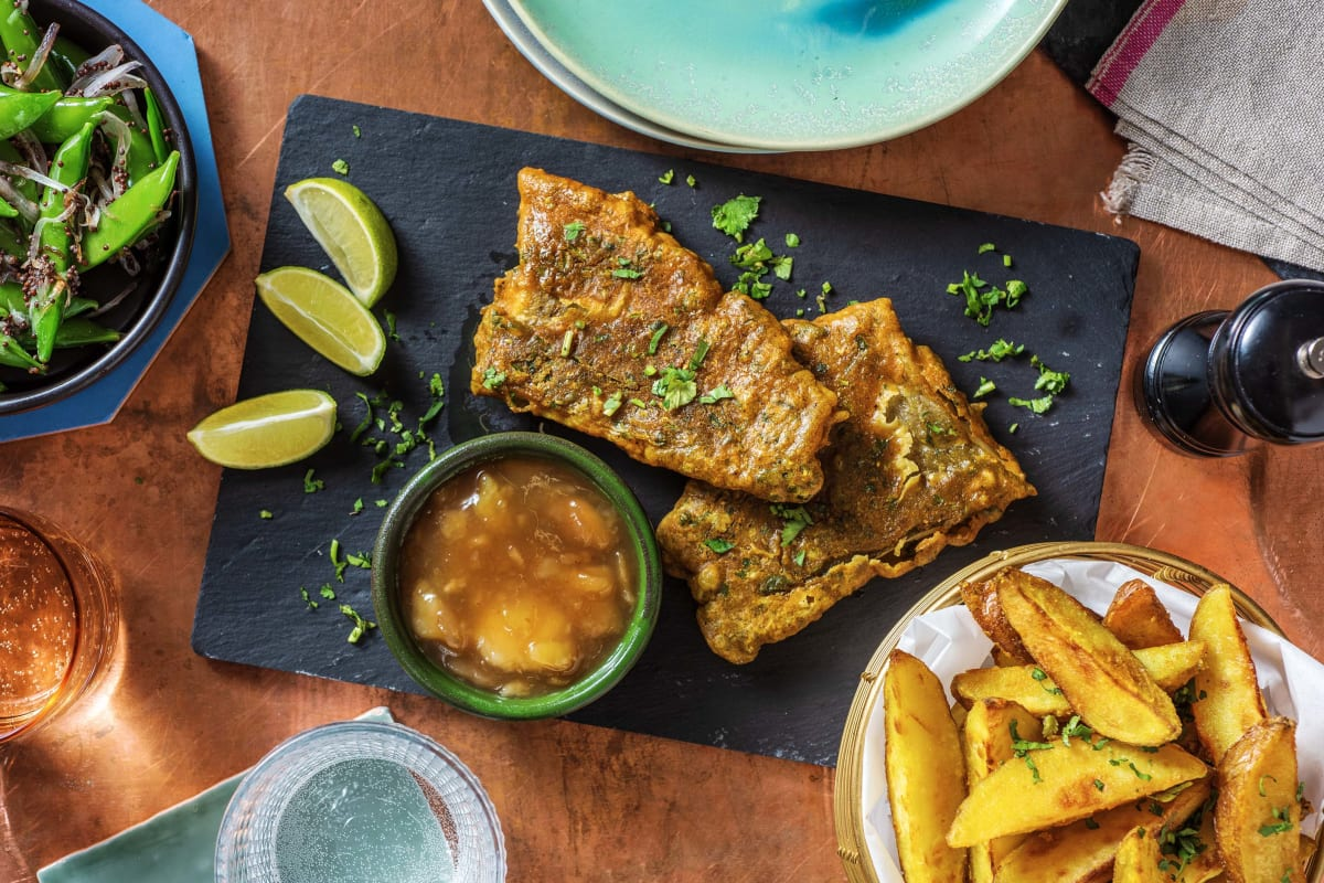 Indian-Spiced Battered Cod and Chips